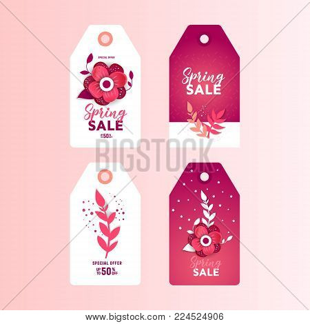 Paper art of  card template with flower and text. Spring sale paper cut  sticker set. Vector