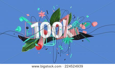 abstract colorful composition with word 100k and strange shapes and objects, high resolution 3D render