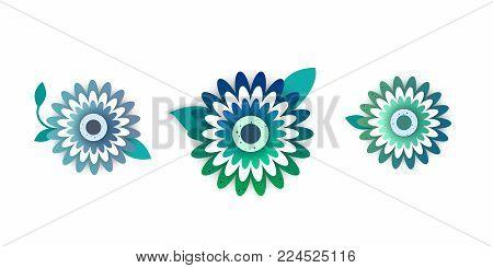 Paper art of decor flowers set . Spring paper cut     vector