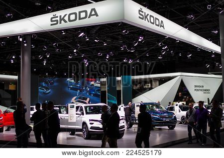 Frankfurt Am Main - September 15 2017: Exhibition Hall Of Skoda Cars At International Motor Show On
