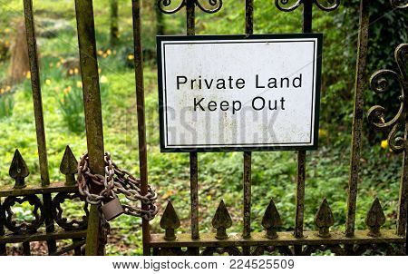 Private Land - Keep Out sign warning