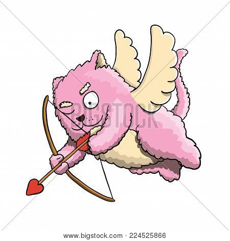 Valentines Day, Valentines Cupid Pink Cat, Flying on the Wings of Love, Aiming at Lover's Heart with Cupid Arrow on White Background