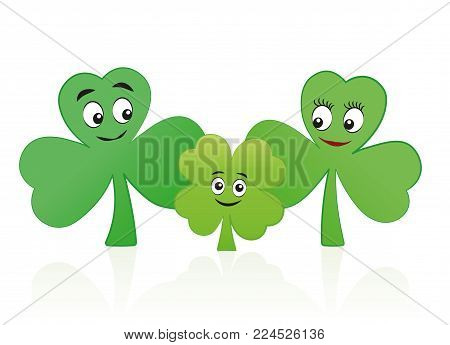 Lucky child - four leaf clover kid with three leaf clover mum and dad - comic vector illustration on white background.