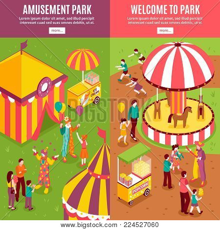 Isometric amusement park circus vertical banners collection with isolated text more button and enterteinment park scenery compositions vector illustration