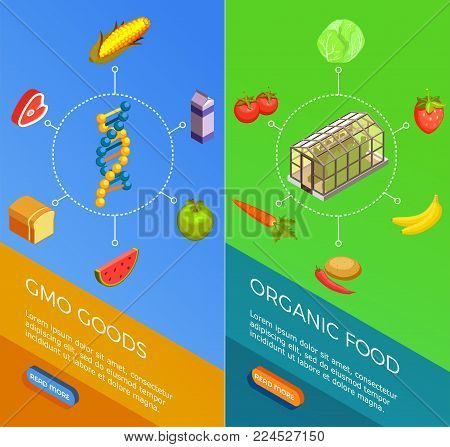 Genetically modified organisms set of vertical isometric banners with gmo goods and organic food isolated vector illustration
