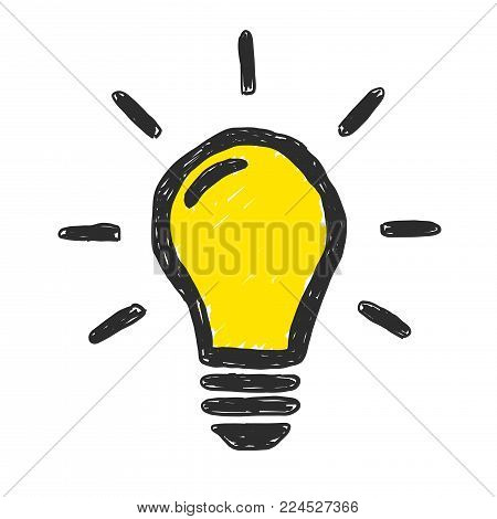 Bright idea yellow lightbulb vector doodle illustration