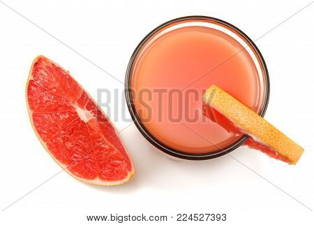 healthy food. grapefruit juice with sliced grapefruit isolated on white background top view