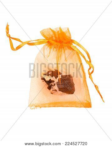 Nylon gift bag with black Tourmaline Point & Babies Nestled in Feldspar From Brazil, isolated on white background
