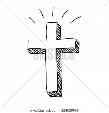 Christian religious easter cross crucifixion vector doodle