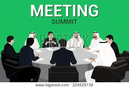 Summit Meeting of European and Arab businessmen and politicians round table
