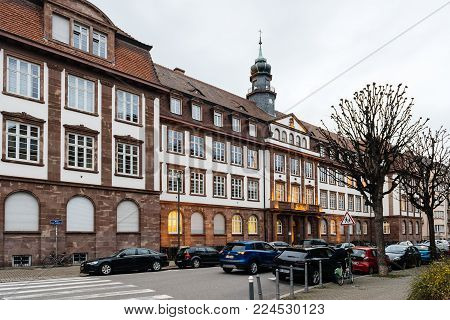 STRASBOURG, FRANCE- JAN 31, 2018: Street view fo beautiful French architecture of the Private School Sainte-Clotilde facade luxury education in Strasbourg, Alsace