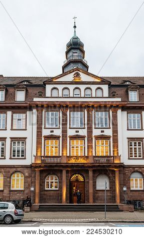 STRASBOURG, FRANCE- JAN 31, 2018: Front view of beautiful French architecture of the Private School Sainte-Clotilde luxury education in Strasbourg, Alsace