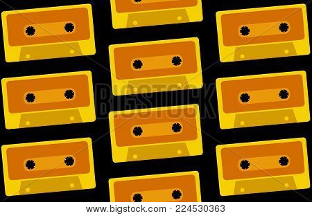 The pattern is seamless from old, vintage, retro, hipster, antique, yellow, gold audio cassettes from the 80's, 90's on a black background. Vector illustration.