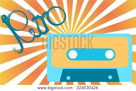 Old, vintage, retro, hipster, antique, blue and yellow audio cassette from the 80's, 90's with an inscription of retro against a light yellow rays. Vector illustration.