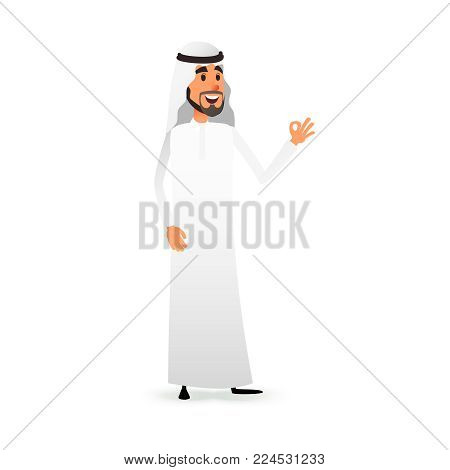Cartoon arab man. Arabic businessman flat character. Arabian muslim entrepreneur in traditional national costume.