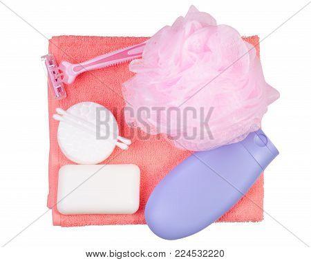 Set for bath soap cream sponge bath razor towel on white background isolation
