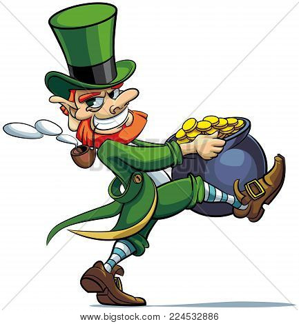 Vector colourful illustration of leprechaun stealing pot of golden coins, isolated on white background. File doesn't contains gradients, blends, transparency and strokes or other special visual effects. You can open this file with any vector graphics edit