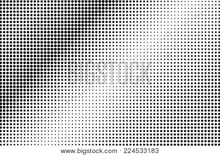 Black White Metallic Dotted Gradient. Half Tone Vector Background. Greyscale Dotted Halftone. Abstra