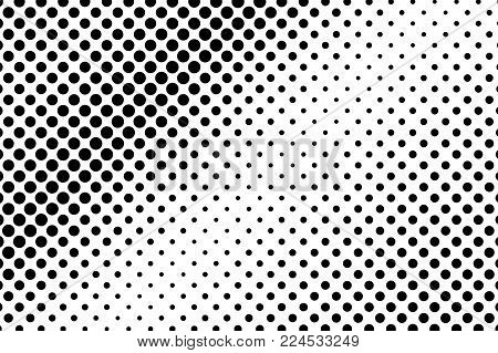 Black White Sparse Faded Dotted Gradient. Half Tone Vector Background. Greyscale Dotted Halftone. Ab