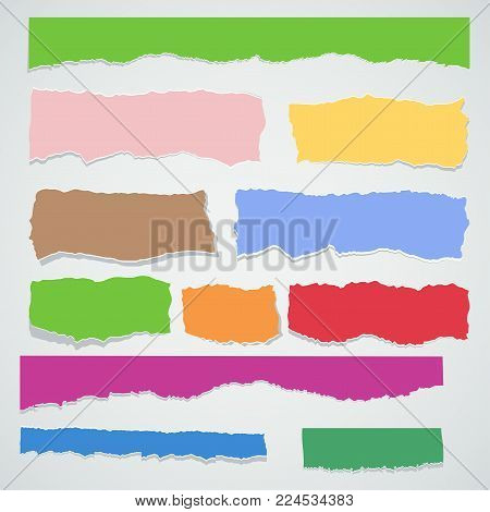 Scrap paper color set. Torn pieces of white sheet. Flat vector cartoon illustration. Objects isolated on background.
