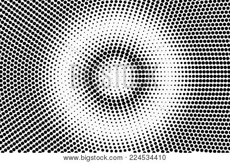 Black white centered dotted gradient. Half tone vector background. Greyscale dotted halftone. Abstract monochrome texture. Black ink dot on transparent backdrop. Pop art dotwork. Retro design