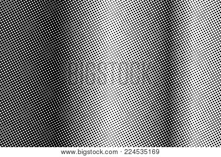 Black white vertical dotted gradient. Half tone vector background. Greyscale dotted halftone. Abstract monochrome texture. Black ink dot on transparent backdrop. Pop art dotwork. Retro design
