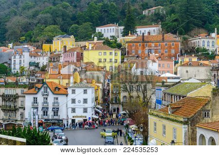 SINTRA, PORTUGAL - DECEMBER 28, 2017: View of the town historic center, with crowd of tourists, in Sintra, Portugal