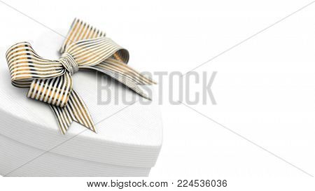 Closeup of white heart shaped gift box with golden bow, on white background. 3D render