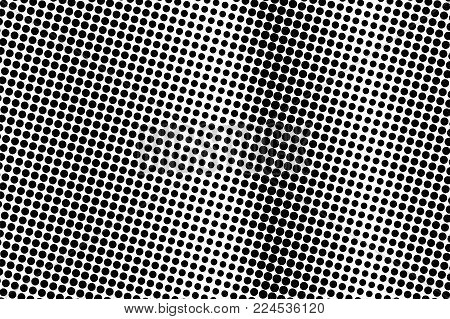 Black White Frequent Dotted Gradient. Half Tone Vector Background. Dark Greyscale Dotted Halftone. A