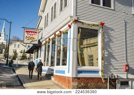 MYSTIC, CT - DECEMBER 17: Mystic Pizza in Connecticut, famous for the 1988 movie with Julia Roberts , located on the Mystic town, on December 17, 2017 in Mystic, CT USA