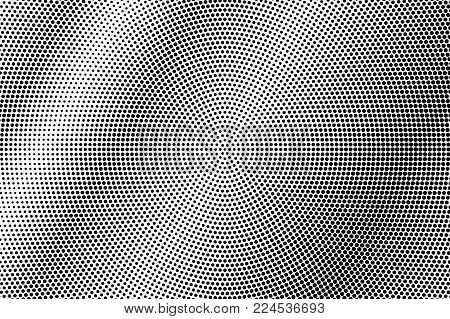 Black and white dotted gradient. Contrast half tone vector background. Metallic dotted halftone. Monochrome retro texture. Black ink dot on transparent backdrop. Pop art dotwork. Abstract backdrop
