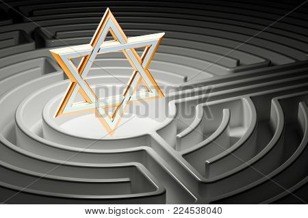 Star of David at the center of a maze, way to religion concept. 3D rendering