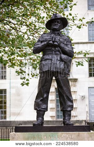LONDON, UK - OCT 28, 2012:  Ivor Roberts-Jones's bronze statue of William Slim, 1st Viscount Slim, a British military commander and the 13th Governor-General of Australia