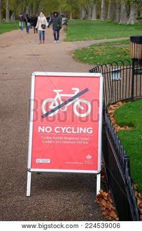 LONDON, UK - NOVEMBER 03, 2012: No Cycling restriction sign in Hyde Park