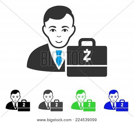 Glad Zcash Accounter vector pictograph. Vector illustration style is a flat iconic zcash accounter symbol with grey, black, blue, green color variants. Human face has cheerful emotion.