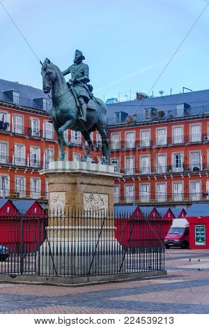 MADRID, SPAIN - DECEMBER 31, 2017: The statue of Philip III in Plaza Mayor (main square), in Madrid, Spain