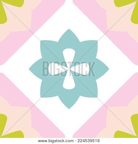 Tile decorative floor tiles vector  pastel pattern or seamless background