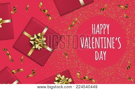 Happy Valentine's Day. Gift Boxes Background