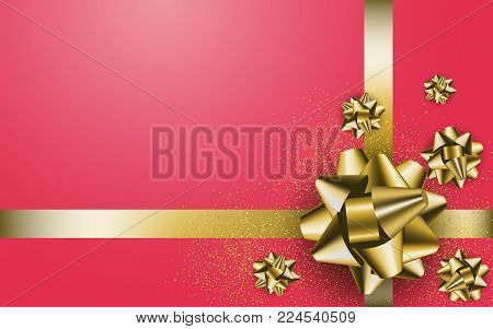 Gold Gift Bow On The Red Background. Stock Vector