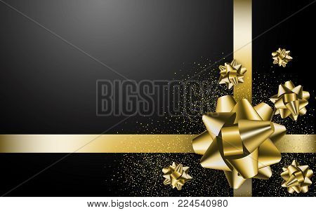 Gold Gift Bow On The Black Background. Stock Vector