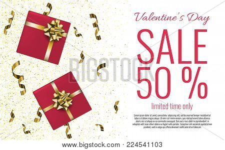 Valentine's Day Sale Banner With Gift Boxes Background