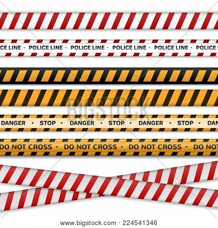Danger collection ribbons, yellow black, red white police line.isolated