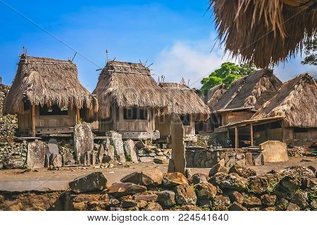 Small Old Wooden Huts In The Traditional Indonesian Village Bena On Flores Island, Indonesia - Unesc