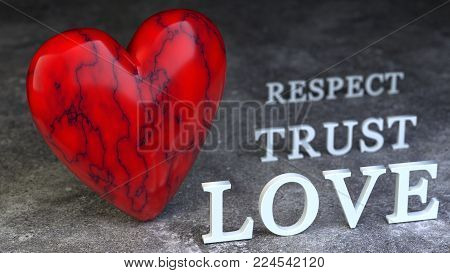 Valentines day - red heart with the words respect, trust and love. 3d ilustration.