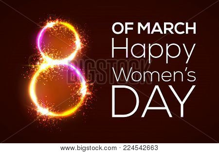 Happy womens day. 8 march. Bright 3d banner on dark red backdrop. Neon circles with glow and firework. Greeting card for International women day design. Neon vector illustration with flash light.