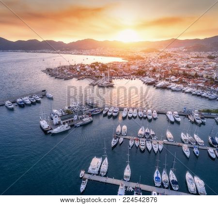 Aerial View Of Boats, Yachts, City At Sunset In Marmaris