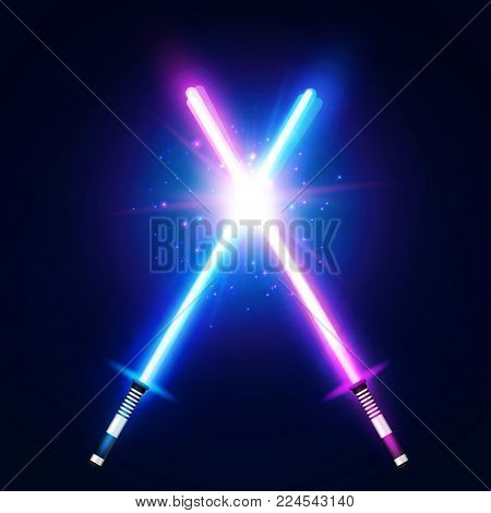 Two crossed light neon swords fight. Blue and purple crossing laser sabers war. Glowing rays in space. Battle elements with star, flash and particles. Colorful vector illustration.