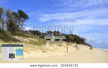 BRIBIE ISLAND, AUSTRALIA - January 29, 2018: Ruins of the WW II Submarine Indicator Loop Control Room RAN 4 Station at the beach in Woorim, Bribie Island, Australia