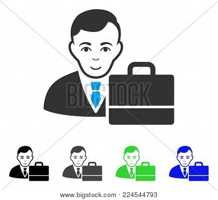 Enjoy Accounter vector pictograph. Vector illustration style is a flat iconic accounter symbol with gray, black, blue, green color variants. Human face has joy mood.