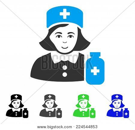 Joy Apothecary Lady vector pictogram. Vector illustration style is a flat iconic apothecary lady symbol with grey, black, blue, green color versions. Human face has gladness feeling.